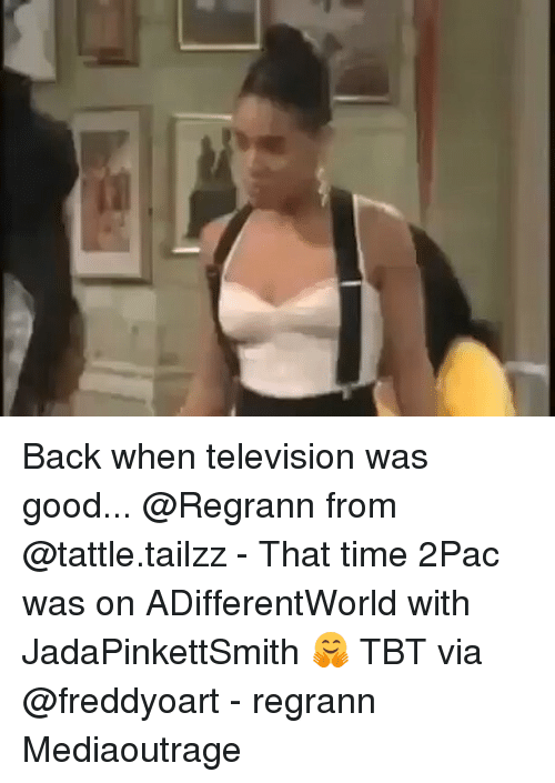 televisions: Back when television was good... @Regrann from @tattle.tailzz - That time 2Pac was on ADifferentWorld with JadaPinkettSmith 🤗 TBT via @freddyoart - regrann Mediaoutrage