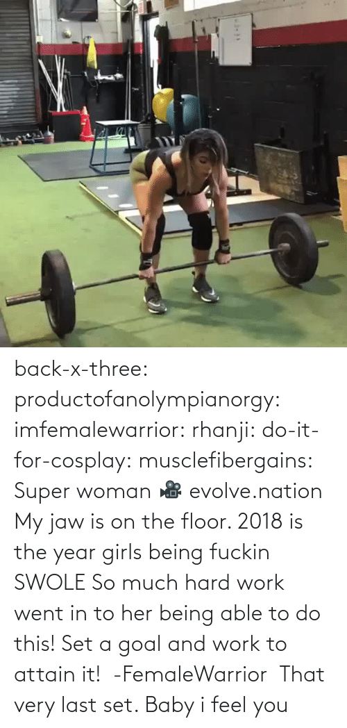 woman: back-x-three:  productofanolympianorgy:  imfemalewarrior:  rhanji:  do-it-for-cosplay:  musclefibergains:   Super woman 🎥 evolve.nation  My jaw is on the floor.    2018 is the year girls being fuckin SWOLE   So much hard work went in to her being able to do this! Set a goal and work to attain it!  -FemaleWarrior      That very last set. Baby i feel you