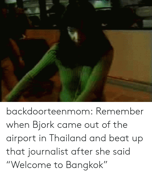 """Bjork: backdoorteenmom:  Remember when Bjork came out of the airport in Thailand and beat up that journalist after she said """"Welcome to Bangkok"""""""