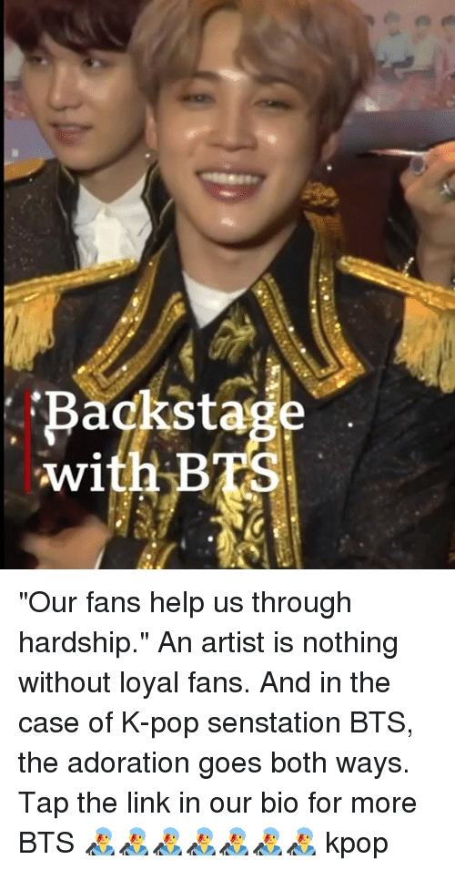 "K-pop: Backstage  with BTS ""Our fans help us through hardship."" An artist is nothing without loyal fans. And in the case of K-pop senstation BTS, the adoration goes both ways. Tap the link in our bio for more BTS 👨‍🎤👨‍🎤👨‍🎤👨‍🎤👨‍🎤👨‍🎤👨‍🎤 kpop"