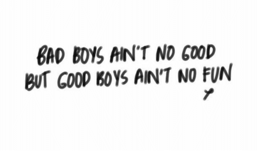 No Fun: BAD BOYS AIN'T NO GOOD  BUT COOD BOYS AIN'T NO FUN