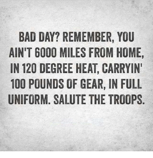 Anaconda, Bad, and Bad Day: BAD DAY? REMEMBER, YOU  AIN'T 6000 MILES FROM HOME,  IN 120 DEGREE HEAT CARRYIN'  100 POUNDS OF GEAR, IN FULL  UNIFORM. SALUTE THE TROOPS