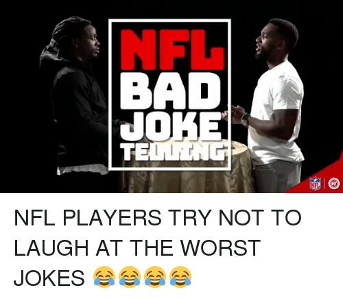 Hood, Laughing, and Laugh: BAD  JO  TE  NFL NFL PLAYERS TRY NOT TO LAUGH AT THE WORST JOKES 😂😂😂😂