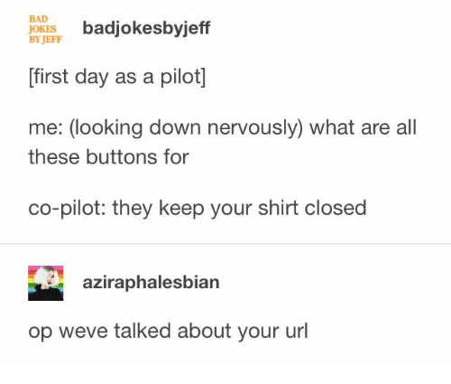 Bad jokes: BAD  JOKES  BY JEFF  badjokesbyjeff  first day as a pilot]  me: (looking down nervously) what are all  these buttons for  co-pilot: they keep your shirt closed  aziraphalesbian  op weve talked about your url