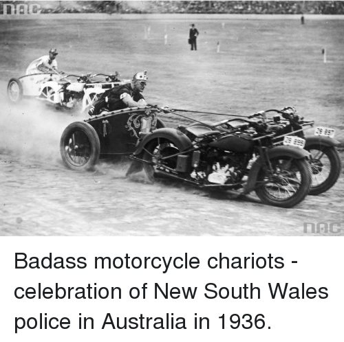 Police, Australia, and Motorcycle: Badass motorcycle chariots - celebration of New South Wales police in Australia in 1936.