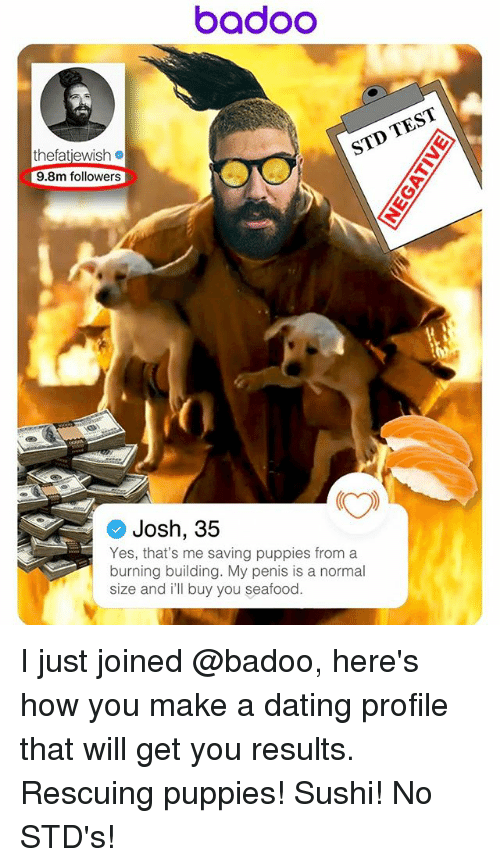 badoo: badOO  TEST  STD thefatiewish  9.8m followers  Josh, 35  Yes, that's me saving puppies from a  burning building. My penis is a normal  size and ill buy you seafood. I just joined @badoo, here's how you make a dating profile that will get you results. Rescuing puppies! Sushi! No STD's!
