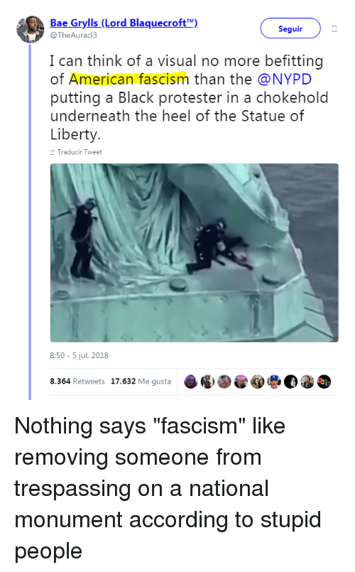 Bae, American, and Black: Bae Grylls (Lord Blaquecroft)  @TheAurac3  Seguir  I can think of a visual no more befitting  of American fascism than the @NYPD  putting a Black protester in a chokeholo  underneath the heel of the Statue of  Liberty  Traducir Tweet  8:50-5 jul. 2018  8.364 Retweets 17.632 Me gusta  ·圖国@