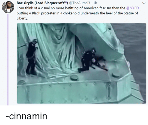 """Bae, American, and Black: Bae Grylls (Lord Blaquecroft"""""""") @TheAuracl3 1h  I can think of a visual no more befitting of American fascism than the @NYPD  putting a Black protester in a chokehold underneath the heel of the Statue of -cinnamin"""