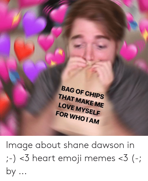 Shane Dawson Memes: BAG OF CHIPS  THAT MAKE ME  LOVE MYSELF  FOR WHO I AM Image about shane dawson in ;-) <3 heart emoji memes <3 (-; by ...