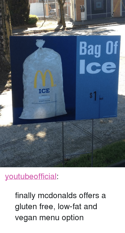 "Vegan: Bag Of  Ice  ICE  ach <p><a class=""tumblr_blog"" href=""http://youtubeofficial.tumblr.com/post/98286910148"" target=""_blank"">youtubeofficial</a>:</p> <blockquote> <p>finally mcdonalds offers a gluten free, low-fat and vegan menu option</p> </blockquote>"