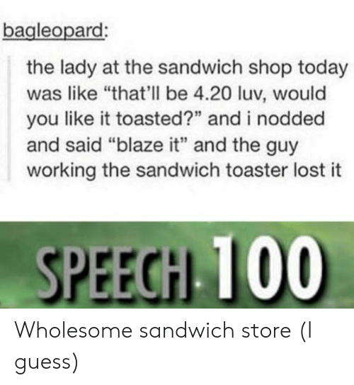 "Toasted: bagleopard  the lady at the sandwich shop today  was like ""that'll be 4.20 luv, would  you like it toasted?"" and i nodded  and said ""blaze it"" and the guy  working the sandwich toaster lost it  SPEEGH 100 Wholesome sandwich store (I guess)"