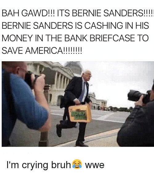 America, Bernie Sanders, and Bruh: BAH GAWD!!! ITS BERNIE SANDERS!!!  BERNIE SANDERS IS CASHING IN HIS  MONEY IN THE BANK BRIEFCASE TO  SAVE AMERICA I'm crying bruh😂 wwe