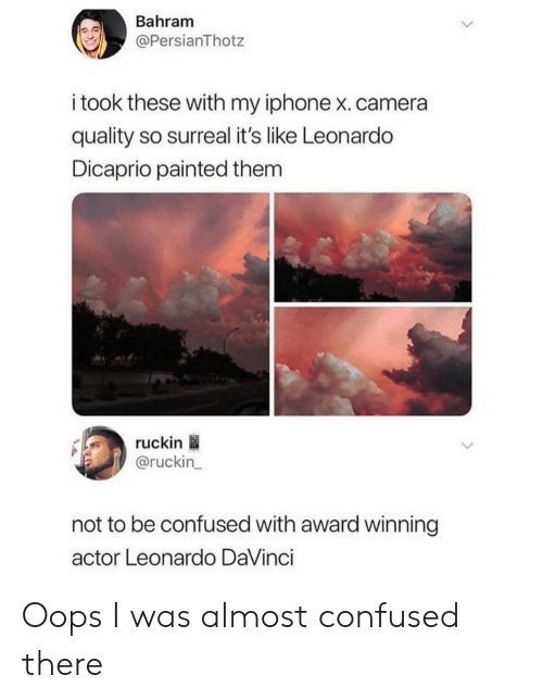 surreal: Bahram  @PersianThotz  i took these with my iphone x.camera  quality so surreal it's like Leonardo  Dicaprio painted them  ruckin  @ruckin_  not to be confused with award winning  actor Leonardo DaVinci Oops I was almost confused there