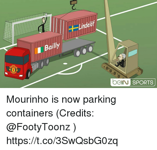 Memes, Sports, and 🤖: Bailly  beIN SPORTS Mourinho is now parking containers (Credits: @FootyToonz ) https://t.co/3SwQsbG0zq