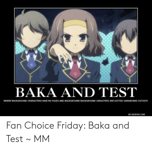 baka and test: BAKA AND TEST  WHERE BACKGROUND CHARACTERS HAVE NO FACES AND BACKGROUND BACKGROUND CARACTERS ARE DOTTED CARDBOARD CUTOUTS  DIY,DESPAIR COM Fan Choice Friday: Baka and Test  ~ MM