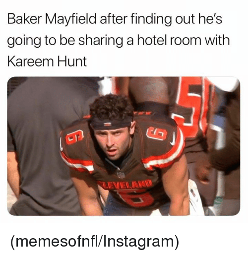 hotel room: Baker Mayfield after finding out he's  going to be sharing a hotel room with  Kareem Hunt (memesofnfl/Instagram)