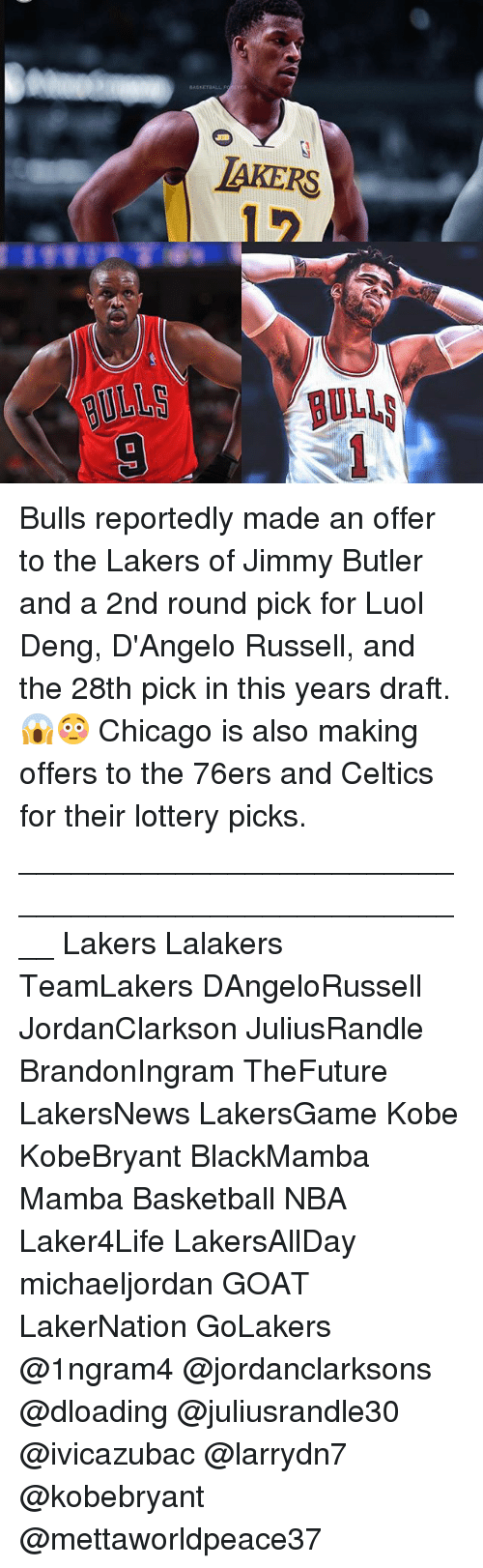 Philadelphia 76ers, Basketball, and Chicago: BAKERS Bulls reportedly made an offer to the Lakers of Jimmy Butler and a 2nd round pick for Luol Deng, D'Angelo Russell, and the 28th pick in this years draft.😱😳 Chicago is also making offers to the 76ers and Celtics for their lottery picks. ____________________________________________________ Lakers Lalakers TeamLakers DAngeloRussell JordanClarkson JuliusRandle BrandonIngram TheFuture LakersNews LakersGame Kobe KobeBryant BlackMamba Mamba Basketball NBA Laker4Life LakersAllDay michaeljordan GOAT LakerNation GoLakers @1ngram4 @jordanclarksons @dloading @juliusrandle30 @ivicazubac @larrydn7 @kobebryant @mettaworldpeace37