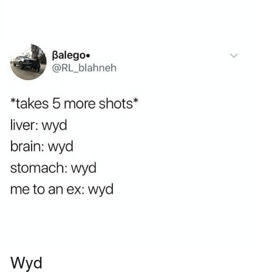 Memes, Wyd, and Brain: Balego.  @RL_blahneh  takes 5 more shots  liver: wyd  brain: wyod  stomach: wyd  me to an ex: wyd Wyd