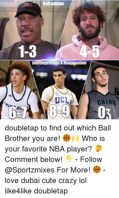 player: Ball edition  1-3  Joeltheprocess XHoopsnation  UCL  CHINO doubletap to find out which Ball Brother you are! 🏀🙌 Who is your favorite NBA player? 🤔 Comment below! 👇 - Follow @Sportzmixes For More! 🏀 - love dubai cute crazy lol like4like doubletap