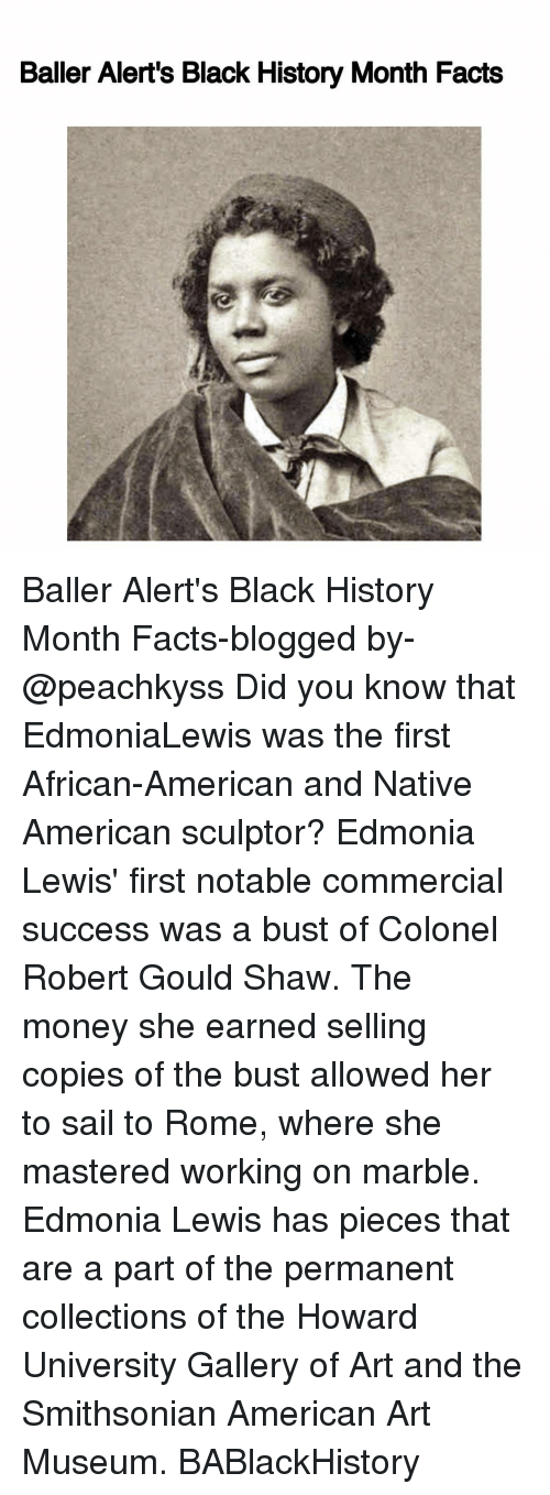 Baller Alert, Black History Month, and Memes: Baller Alert's Black History Month Facts Baller Alert's Black History Month Facts-blogged by- @peachkyss Did you know that EdmoniaLewis was the first African-American and Native American sculptor? Edmonia Lewis' first notable commercial success was a bust of Colonel Robert Gould Shaw. The money she earned selling copies of the bust allowed her to sail to Rome, where she mastered working on marble. Edmonia Lewis has pieces that are a part of the permanent collections of the Howard University Gallery of Art and the Smithsonian American Art Museum. BABlackHistory