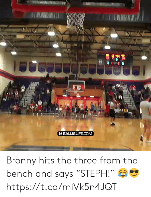 """bench: BALLISLIFE.COM Bronny hits the three from the bench and says """"STEPH!"""" 😂😎 https://t.co/miVk5n4JQT"""
