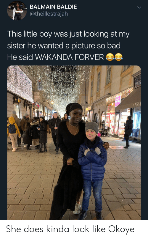 little-boy: BALMAIN BALDIE  @theillestrajah  This little boy was just looking at my  sister he wanted a picture so bad  He said WAKANDA FORVER AS  WEINDL  ANZA She does kinda look like Okoye