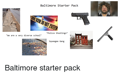 "Police, School, and Starter Packs: Baltimore Starter Pack  *Police Shootings*  ""We are a very diverse school""  Squeegee Gang"