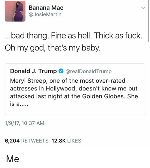 Golden Globes, Memes, and Banana: Banana Mae  @Josie Martin  bad thang. Fine as hell. Thick as fuck  Oh my god, that's my baby.  Donald J. Trump  areal Donald Trump  Meryl Streep, one of the most over-rated  actresses in Hollywood, doesn't know me but  attacked last night at the Golden Globes. She  IS a  1/9/17, 10:37 AM  6,204 RETWEETS 12.8K  LIKES Me