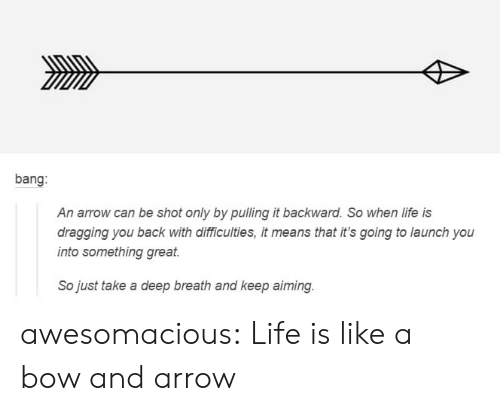 Take A Deep Breath: bang:  An arrow can be shot only by pulling it backward. So when life is  dragging you back with dlifficulties, it means that it's going to launch you  into something great  So just take a deep breath and keep aiming awesomacious:  Life is like a bow and arrow