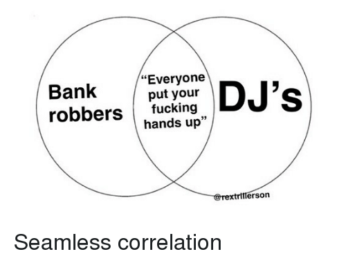 "Bank, Seamless, and Hood: Bank  ""Everyone  put your  robbersucking  hands up""  rextrillerson Seamless correlation"