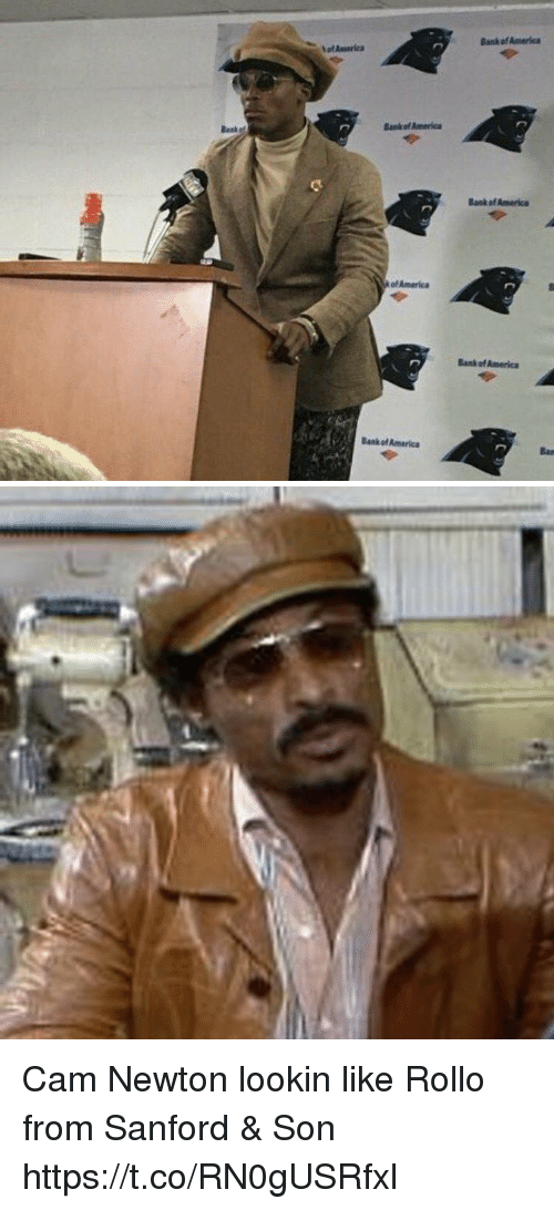 America, Cam Newton, and Football: Bank of Ameriea  Baske  anf America  Bank of America  of America  Bank ef America  Bank of America Cam Newton lookin like Rollo from Sanford & Son https://t.co/RN0gUSRfxl