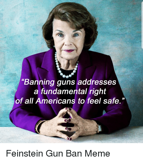 """Ban Meme: """"Banning guns addresses  a fundamental right  of all Americans to feel safe."""""""