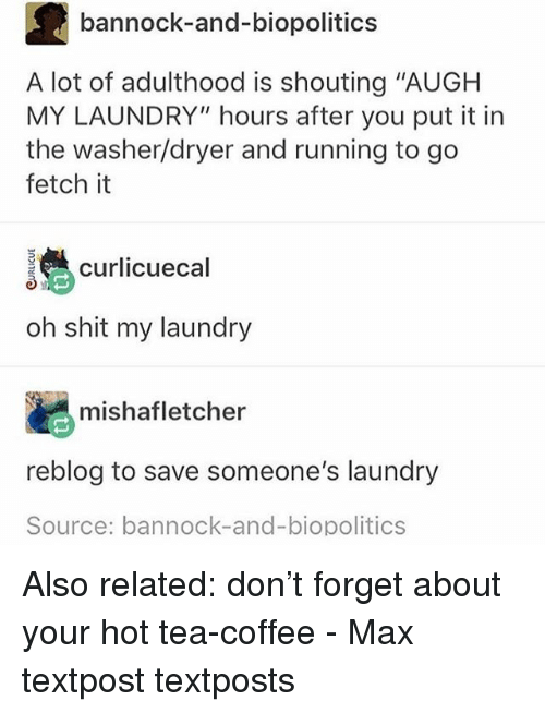 "Laundry, Memes, and Shit: bannock-and-biopolitics  A lot of adulthood is shouting ""AUGH  MY LAUNDRY"" hours after you put it in  the washer/dryer and running to go  fetch it  curlicuecal  oh shit my laundry  mishafletcher  reblog to save someone's laundry  Source: bannock-and-biopolitics Also related: don't forget about your hot tea-coffee - Max textpost textposts"