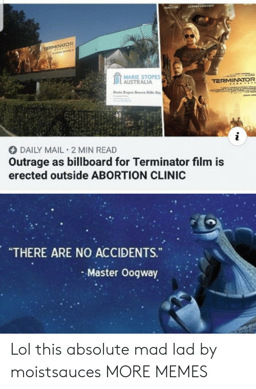 "Billboard: BANS  3CHWAFZEN09ER  HAMILTON  TERMINATOR  MARIE STOPES  AUSTRALIA  TERMINATOR  A E &TE  Marle Stopes Bowen Halls Day  IReCOTF  i  DAILY MAIL 2 MIN READ  Outrage as billboard for Terminator film is  erected outside ABORTION CLINIC  ARE NO ACCIDENTS.  ""THERE  ""  Master Oogway Lol this absolute mad lad by moistsauces MORE MEMES"