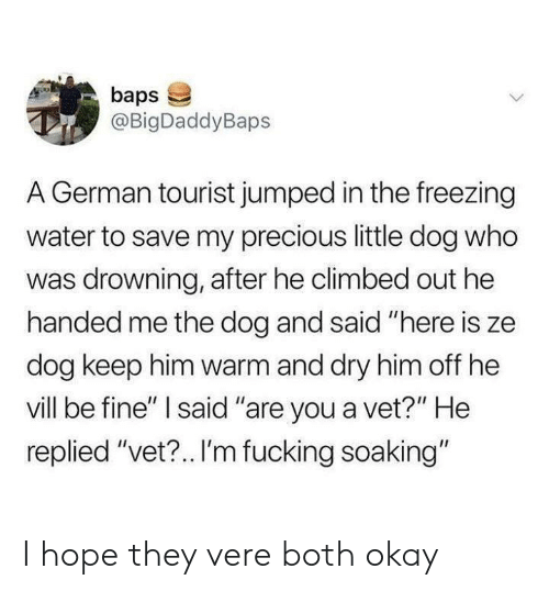 "Tourist: baps  @BigDaddyBaps  A German tourist jumped in the freezing  water to save my precious little dog who  was drowning, after he climbed out he  handed me the dog and said ""here is ze  dog keep him warm and dry him off he  vill be fine"" I said ""are you a vet?"" He  replied ""vet?.. I'm fucking soaking"" I hope they vere both okay"