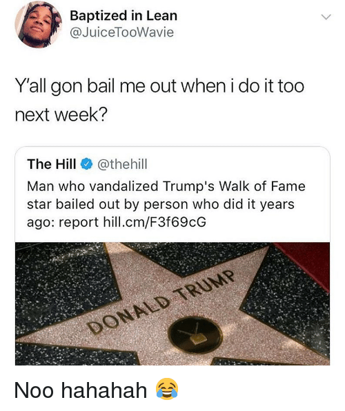 Lean, Star, and Hood: Baptized in Lean  @JuiceTooWavie  Yall gon bail me out when i do it too  next week?  The Hill @thehill  Man who vandalized Trump's Walk of Fame  star bailed out by person who did it years  ago: report hill.cm/F3f69cG Noo hahahah 😂