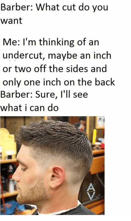 Barber, Dank Memes, and Only One: Barber: What cut do you  want  Me: I'm thinking of an  undercut, maybe an inch  or two off the sides and  only one inch on the back  Barber: Sure, I'll see  what i can do