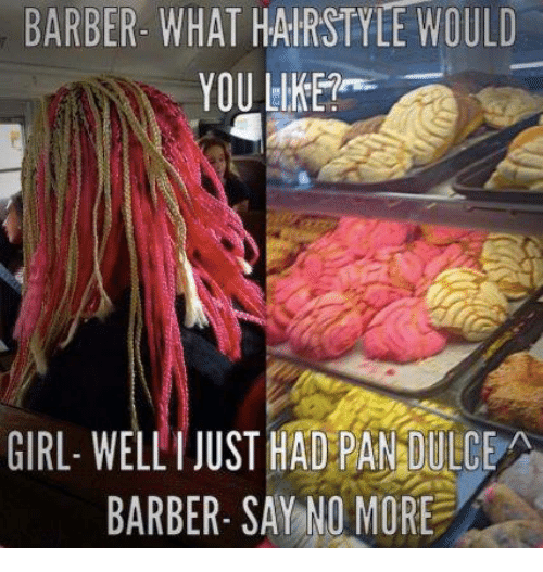 Barber, Memes, and Hairstyles: BARBER- WHAT HAIRSTYLE WOULD  YOU LIKE  GIRL- WELLI JUST HAD PANDULCEA  BARBER- SAY NO MORE