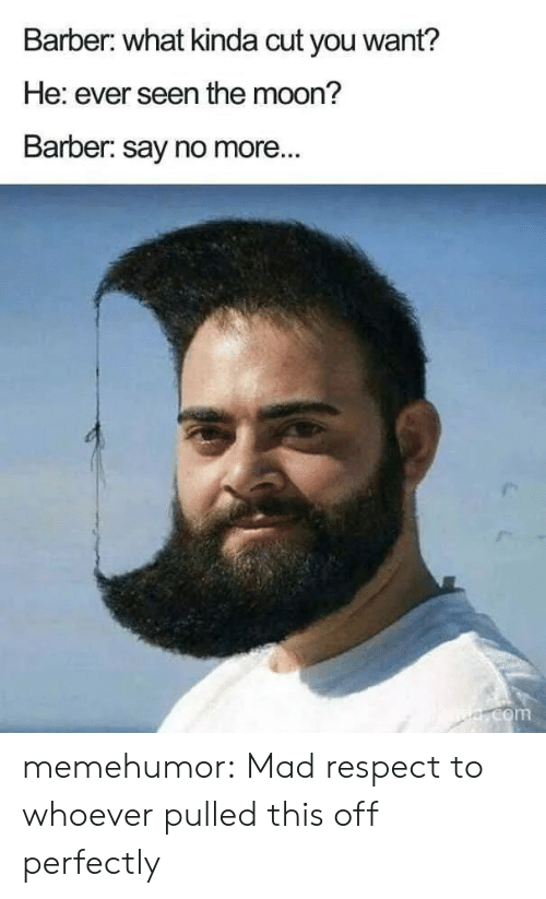Say No More: Barber: what kinda cut you want?  He: ever seen the moon?  Barber: say no more...  e.com memehumor:  Mad respect to whoever pulled this off perfectly