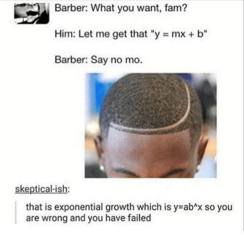 "fam: Barber: What you want, fam?  Him: Let me get that ""y mx + b""  Barber: Say no mo.  skeptical-ish:  that is exponential growth which is y abAx so you  and you have failed  are  wrong"