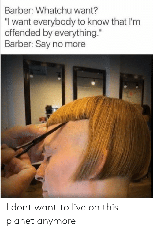 """whatchu want: Barber:  Whatchu want?  """"I want everybody to know that I'm  offended by everything.""""  Barber: Say no more I dont want to live on this planet anymore"""
