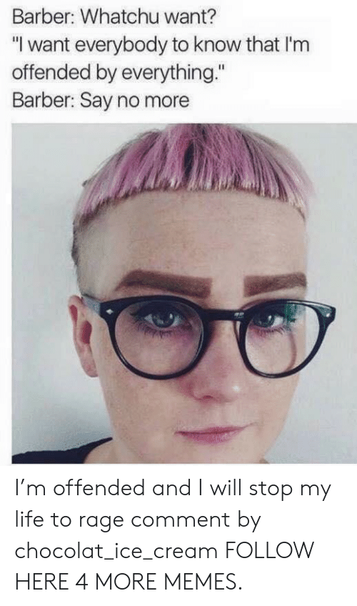 """Whatchu: Barber: Whatchu want?  """"I want everybody to know that I'nm  offended by everything.""""  Barber: Say no more I'm offended and I will stop my life to rage comment by chocolat_ice_cream FOLLOW HERE 4 MORE MEMES."""