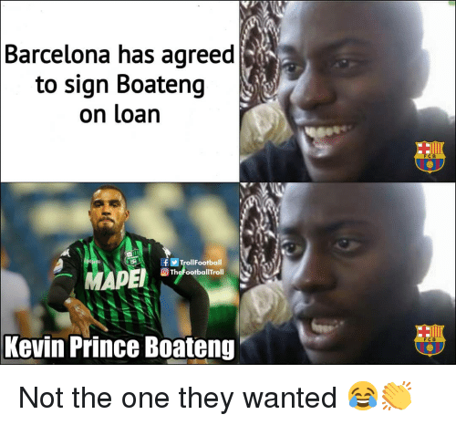 fcb: Barcelona has agreed  to sign Boateng  on loan  FCB  TrollFootball  TheFootballTroll  Kevin Prince Boateng  FC B Not the one they wanted 😂👏