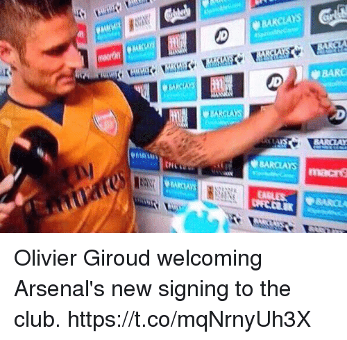 Barclays: BARCLAYS  BARC  BARCLAYS Olivier Giroud welcoming Arsenal's new signing to the club. https://t.co/mqNrnyUh3X