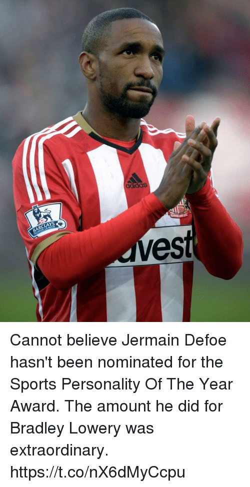 Soccer, Sports, and Barclays: BARCLAYS  es Cannot believe Jermain Defoe hasn't been nominated for the Sports Personality Of The Year Award.  The amount he did for Bradley Lowery was extraordinary. https://t.co/nX6dMyCcpu