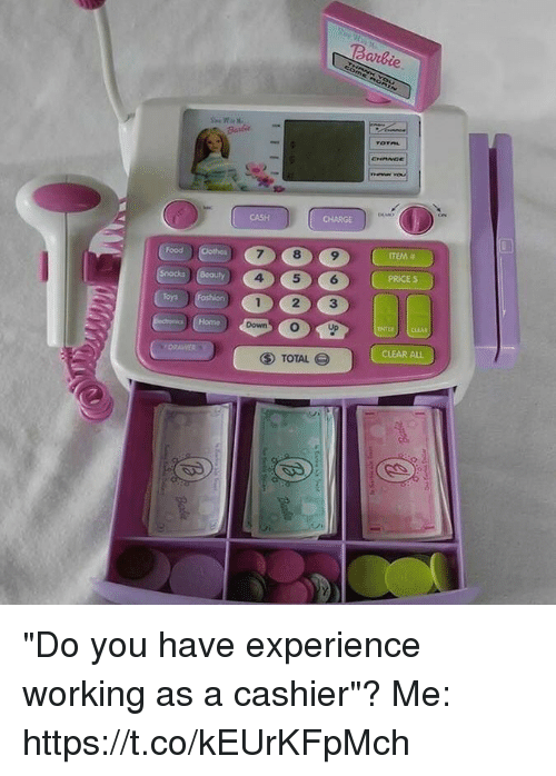 """Food, Home, and Relatable: Barde  2  CHANGE  CASH  CHARGE  Food  ITEM #  456  PRICE S  Home  CLEAR ALL  ⑤ TOTAL """"Do you have experience working as a cashier""""?   Me: https://t.co/kEUrKFpMch"""
