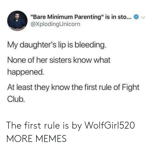 "Fight Club: ""Bare Minimum Parenting"" is in sto...  @XplodingUnicorn  v  My daughter's lip is bleeding  None of her sisters know what  happened  At least they know the first rule of Fight  Club. The first rule is by WolfGirl520 MORE MEMES"