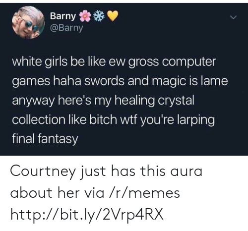 white girls: Barny  @Barny  white girls be like ew gross computer  games haha swords and magic is lame  anyway here's my healing crystal  collection like bitch wtf you're larping  final fantasy Courtney just has this aura about her via /r/memes http://bit.ly/2Vrp4RX