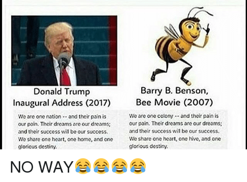 Bee Movie, Memes, and Movies: Barry B. Benson,  Donald Trump  Inaugural Address (2017)  Bee Movie (2007)  We are one colony and thoir pain is  We are one nation  and their pain is  our pain. Their droams are our dreams:  our pain. Their dreams are our dreams:  and their success wil be our success.  and their success wil be our success.  We share one heart, one home, and one  We share one heart, ono hlvo, and one  glorious destiny.  glorious destiny. NO WAY😂😂😂😂