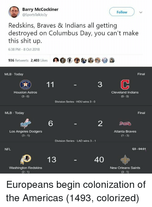 Braves: Barry McCockiner  Follow  @SportsTalklo3y  Redskins, Braves & Indians all getting  destroyed on Columbus Day, you can't make  this shit up.  6:38 PM 8 Oct 2018  936 Retweets 2,403 Likes  MLB Today  Final  3  Houston Astros  (3- 0)  Cleveland Indians  (0-3)  Division Series HOU wins 3 -0  MLB Today  Final  6  2  Los Angeles Dodgers  (3 1)  Atlanta Braves  (1 3)  Division Series LAD wins 3 1  NFL  Q3-04:01  40  Washington Redskins  (2-1)  New Orleans Saints  (3-1) Europeans begin colonization of the Americas (1493, colorized)